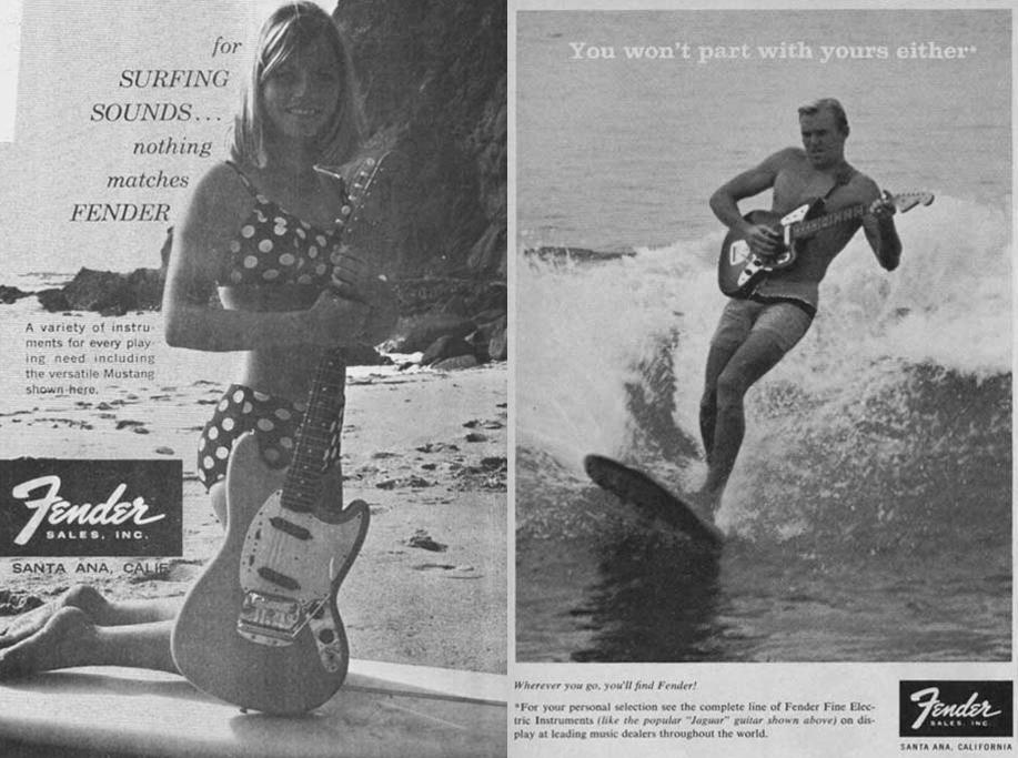 Surfista tocando guitarra enquanto surfa em anúncio da Fender