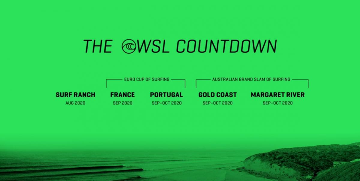 Tela verde com eventos da WSL em 2020