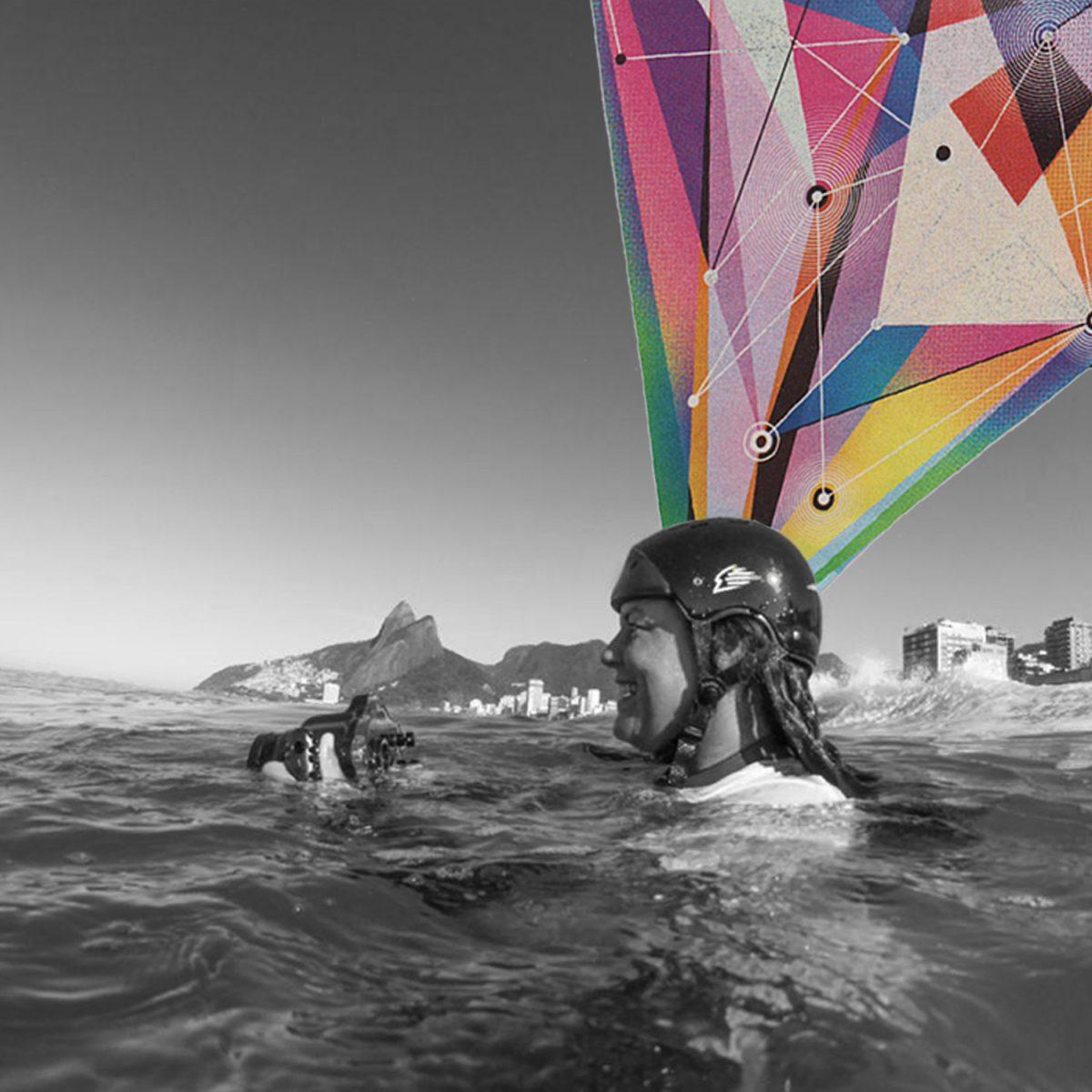 Fotógrafa de surf segura caixa estanque dentro da água em foto pb com colagem geométrica colorida em podcast com surfistas brasileiras
