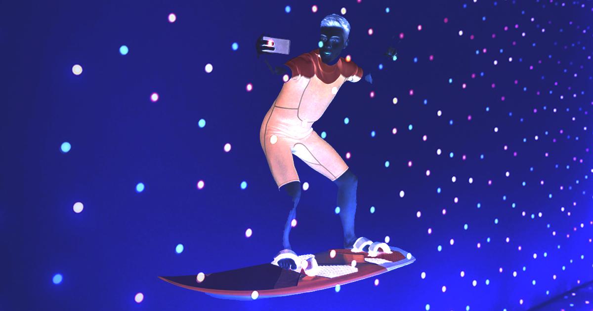 Surfista tira selfie em surf noturno em alusão ao WSL Onda do Bem